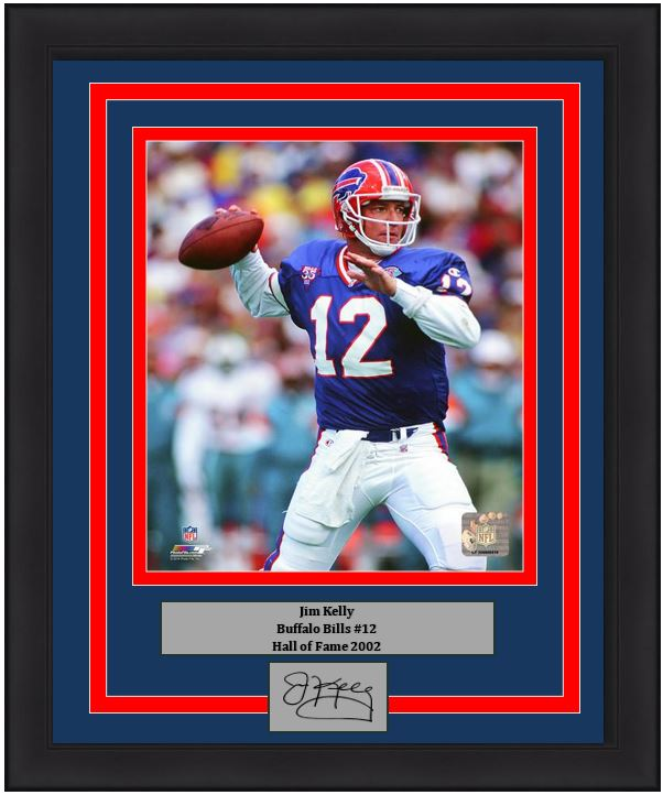 "Buffalo Bills Jim Kelly Engraved Autograph NFL Football 8"" x 10"" Framed & Matted Photo (Dynasty Signature Collection)"
