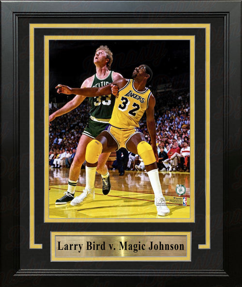"Larry Bird v. Magic Johnson 8"" x 10"" Framed Basketball Photo - Dynasty Sports & Framing"