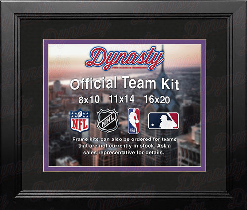 NHL Hockey Photo Picture Frame Kit - Los Angeles Kings (Black Matting, Purple Trim) - Dynasty Sports & Framing