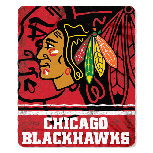 "Chicago Blackhawks NHL Hockey 50"" x 60"" Fade Away Fleece Blanket - Dynasty Sports & Framing"