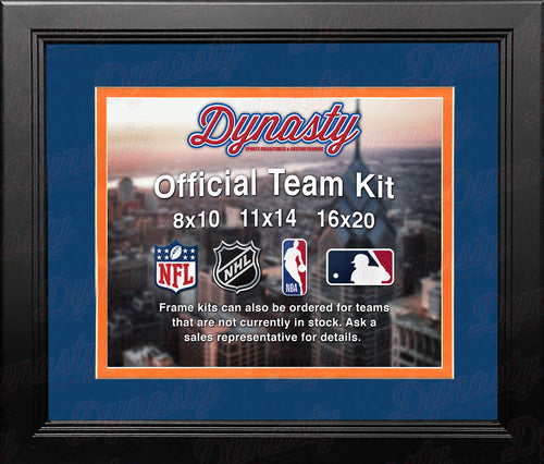 NHL Hockey Photo Picture Frame Kit - Edmonton Oilers (Blue Matting, Orange Trim) - Dynasty Sports & Framing