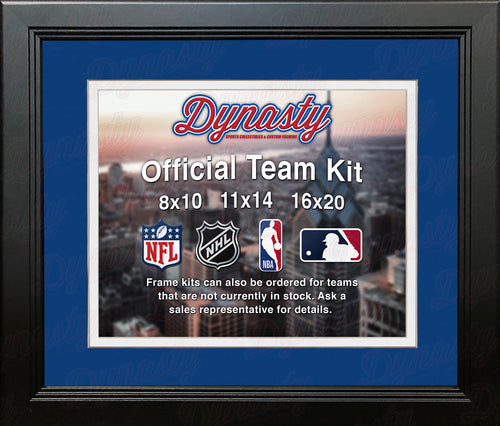 NHL Hockey Photo Picture Frame Kit - Columbus Blue Jackets (Blue Matting, White Trim) - Dynasty Sports & Framing
