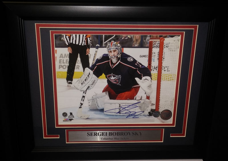 "Sergei Bobrovsky in Net Columbus Blue Jackets Autographed 8"" x 10"" Framed Hockey Photo - Dynasty Sports & Framing"