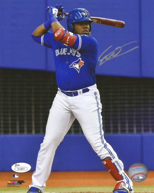 Vladimir Guerrero, Jr. At-Bat Toronto Blue Jays Autographed Baseball Photo - Dynasty Sports & Framing