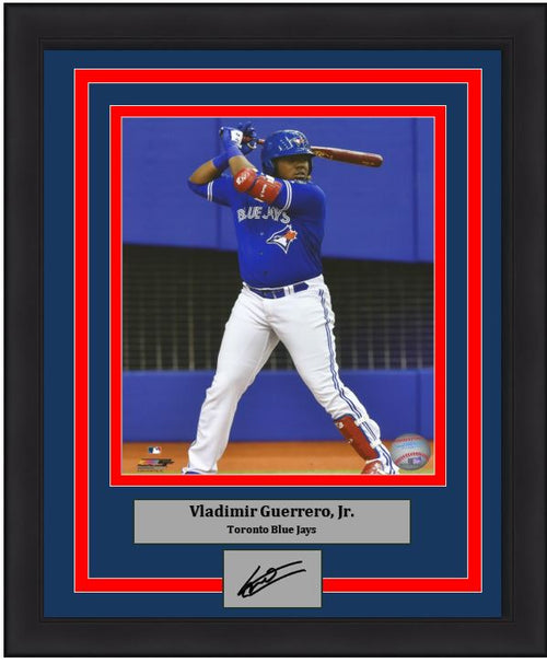 Vladimir Guerrero, Jr. At-Bat Toronto Blue Jays Framed Baseball Photo with Engraved Autograph - Dynasty Sports & Framing
