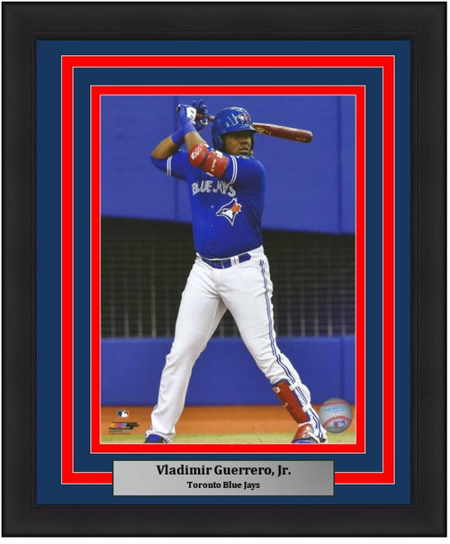 Toronto Blue Jays Vladimir Guerrero, Jr. At-Bat MLB Baseball Framed and Matted Photo