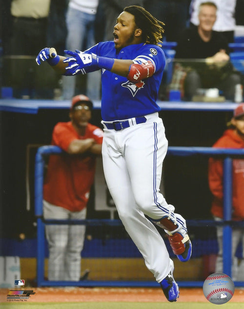 Vladimir Guerrero, Jr. Walk-Off Home Run Celebration Toronto Blue Jays Baseball Photo - Dynasty Sports & Framing
