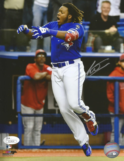 Toronto Blue Jays Vladimir Guerrero, Jr. Walk-Off Home Run Celebration Autographed MLB Baseball Photo - Dynasty Sports & Framing
