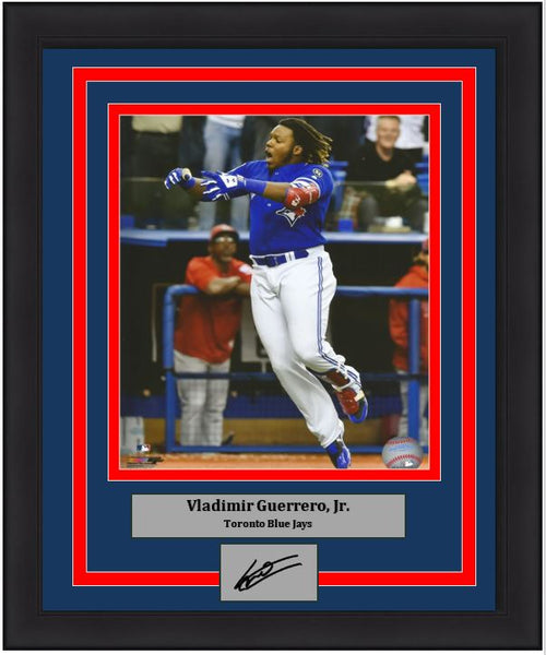 "Toronto Blue Jays Vladimir Guerrero, Jr. Walk-Off Home Run Celebration Engraved Autograph MLB Baseball 8"" x 10"" Framed and Matted Photo (Dynasty Signature Collection) - Dynasty Sports & Framing"