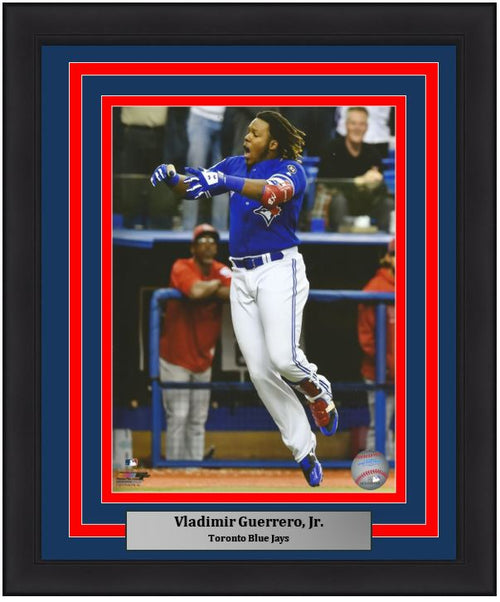 Toronto Blue Jays Vladimir Guerrero, Jr. Walk-Off Home Run Celebration MLB Baseball Framed and Matted Photo - Dynasty Sports & Framing
