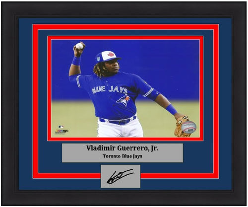"Toronto Blue Jays Vladimir Guerrero, Jr. Fielding Engraved Autograph MLB Baseball 8"" x 10"" Framed and Matted Photo (Dynasty Signature Collection) - Dynasty Sports & Framing"