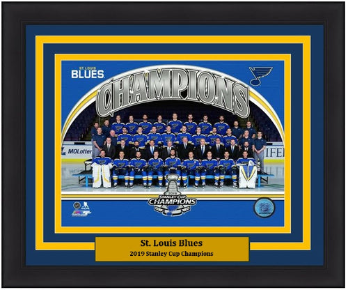 "St. Louis Blues 2019 Stanley Cup Champions Team Roster Line-Up NHL Hockey 8"" x 10"" Framed and Matted Photo"