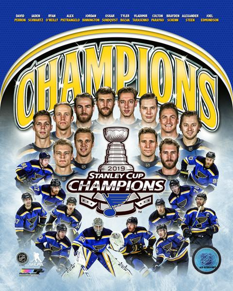 "St. Louis Blues 2019 Stanley Cup Champions Team Roster Collage NHL Hockey 8"" x 10"" Photo - Dynasty Sports & Framing"