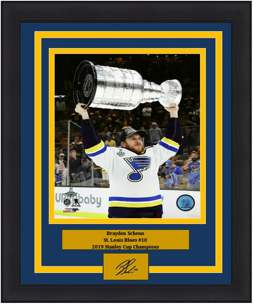 "Brayden Schenn St. Louis Blues 2019 Stanley Cup Champions NHL Hockey 8"" x 10"" Framed and Matted Photo with Engraved Autograph"