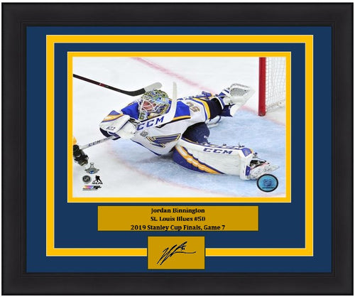 "Jordan Binnington St. Louis Blues 2019 Stanley Cup Finals, Game 7 NHL Hockey 8"" x 10"" Framed and Matted Photo with Engraved Autograph"