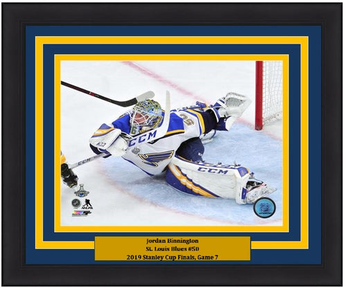 "Jordan Binnington St. Louis Blues 2019 Stanley Cup Finals, Game 7 NHL Hockey 8"" x 10"" Framed and Matted Photo"