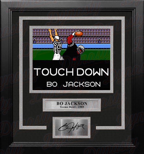 "Bo Jackson Tecmo Bowl Touchdown 8"" x 10"" Framed Video Game Football Photo with Engraved Autograph - Dynasty Sports & Framing"