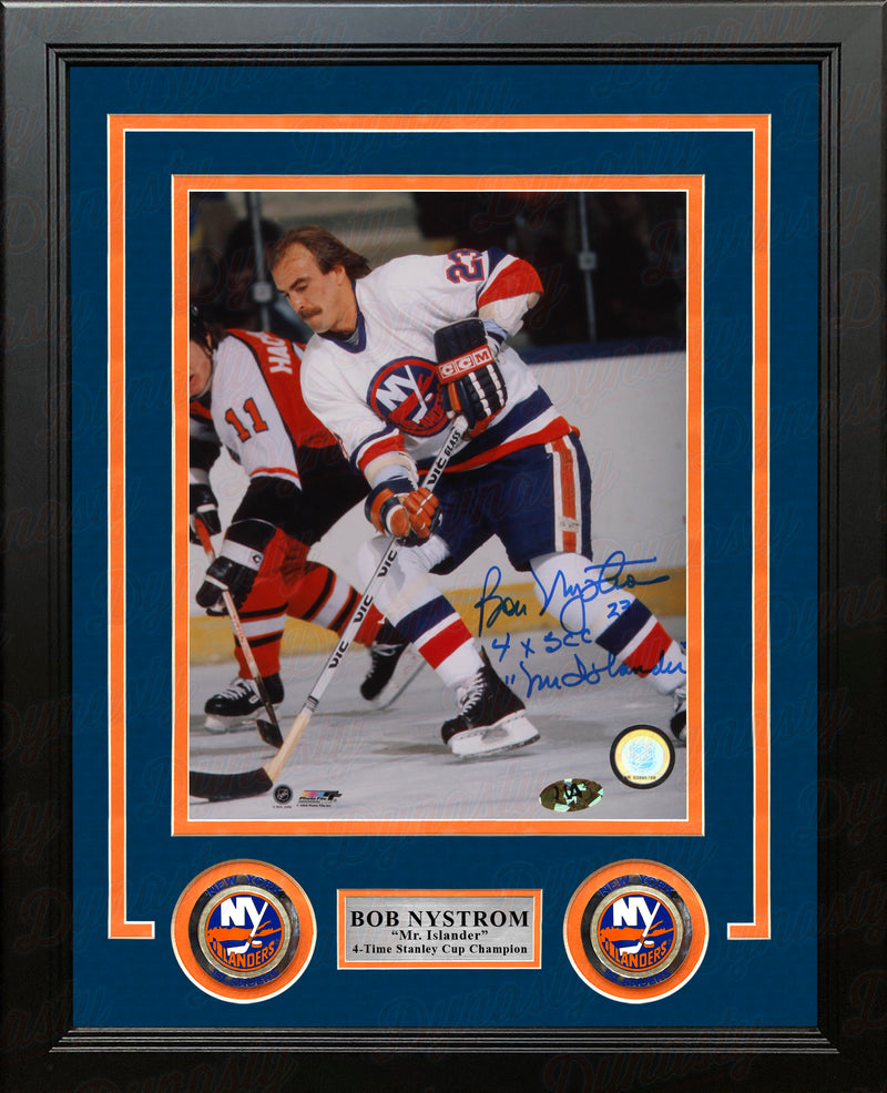 "Bob Nystrom in Action New York Islanders Autographed 8"" x 10"" Framed Hockey Photo with Inscriptions - Dynasty Sports & Framing"