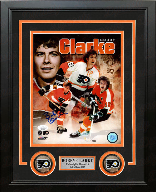 "Bob Clarke Philadelphia Flyers Autographed 8"" x 10"" Framed Hockey Collage Photo - Dynasty Sports & Framing"