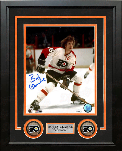"Bob Clarke in Action Philadelphia Flyers Autographed 8"" x 10"" Framed Hockey Photo - Dynasty Sports & Framing"