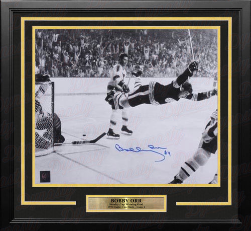 "Bobby Orr 1970 Stanley Cup Flying Goal Autographed Boston Bruins 11"" x 14"" Framed Black and White Hockey Photo - Dynasty Sports & Framing"