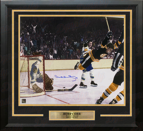 "Bobby Orr 1970 Stanley Cup Flying Goal Autographed Boston Bruins 16"" x 20"" Framed Color Hockey Photo - Dynasty Sports & Framing"