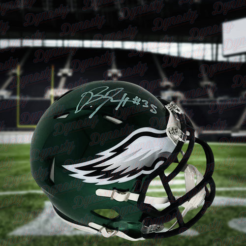 Boston Scott Philadelphia Eagles Autographed NFL Football Chrome Mini-Helmet - Dynasty Sports & Framing