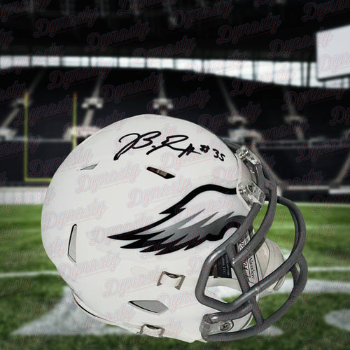 Boston Scott Philadelphia Eagles Autographed Flat White Alternate Revolution Mini Football Helmet - Dynasty Sports & Framing