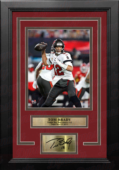 Tom Brady Super Bowl LV Action Tampa Bay Buccaneers 8x10 Framed Football Photo with Engraved Autograph - Dynasty Sports & Framing