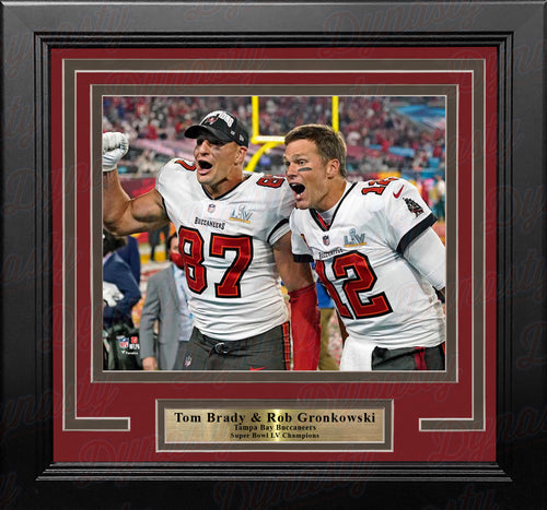 Tom Brady & Rob Gronkowski Super Bowl LV Champions Tampa Bay Buccaneers 8x10 Framed Football Photo - Dynasty Sports & Framing