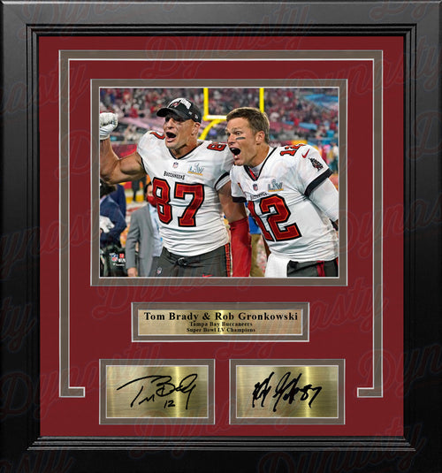 Tom Brady & Rob Gronkowski Super Bowl LV Tampa Bay Buccaneers 8x10 Framed Photo Engraved Autographs - Dynasty Sports & Framing