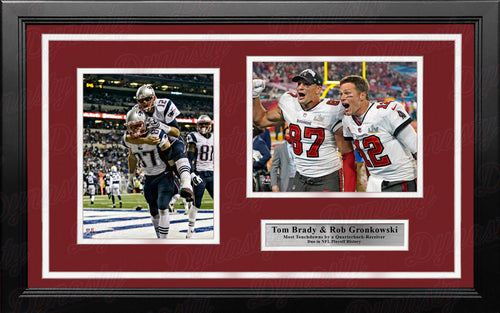 Tom Brady & Rob Gronkowski Greatest Postseason Quarterback-Receiver Duo Framed Photo Collage - Dynasty Sports & Framing