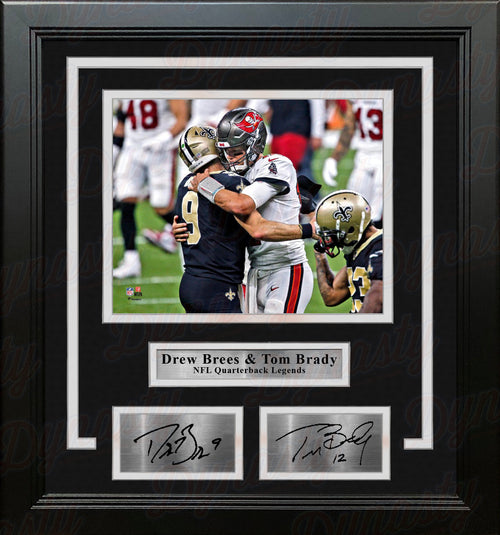 "Drew Brees and Tom Brady 8"" x 10"" Framed Quarterback Legends Football Photo with Engraved Autographs - Dynasty Sports & Framing"