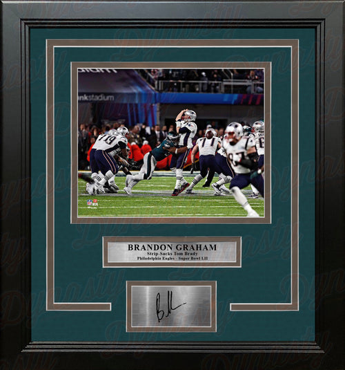 Brandon Graham Sacks Brady Super Bowl Philadelphia Eagles Framed Photo with Engraved Autograph - Dynasty Sports & Framing