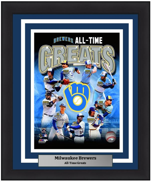 "Milwaukee Brewers All-Time Greats MLB Baseball 8"" x 10"" Framed and Matted Photo"
