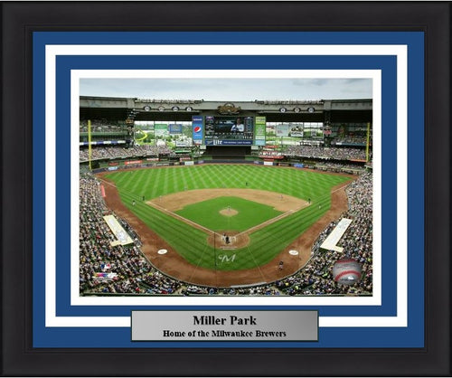 "Milwaukee Brewers Miller Park Stadium MLB Baseball 8"" x 10"" Framed and Matted Photo - Dynasty Sports & Framing"