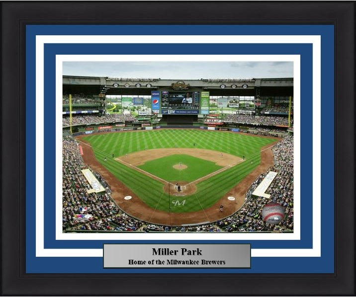 "Milwaukee Brewers Miller Park Stadium MLB Baseball 8"" x 10"" Framed and Matted Photo"