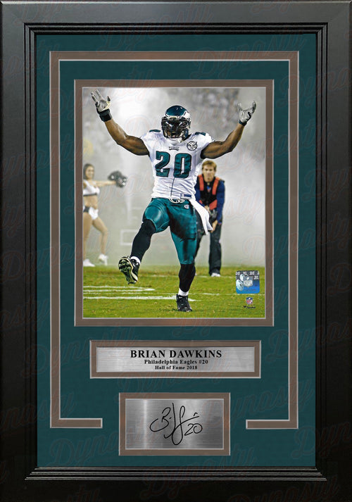 Brian Dawkins Smoke Entrance Philadelphia Eagles Framed Football Photo with Engraved Autograph - Dynasty Sports & Framing