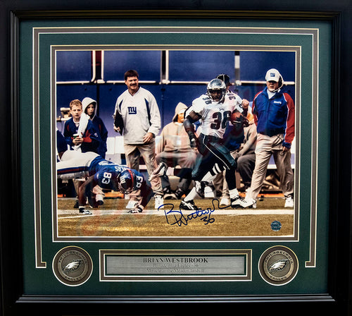 Brian Westbrook Punt Return v. NY Giants in Full Color Philadelphia Eagles Autographed NFL Football Framed and Matted Photo - Dynasty Sports & Framing