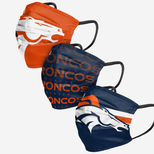 Denver Broncos 3-Pack Match Day Face Mask Covers - Dynasty Sports & Framing