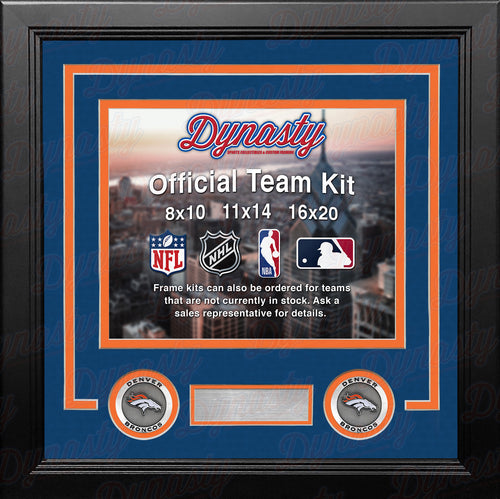 NFL Football Photo Picture Frame Kit - Denver Broncos (Blue Matting, Orange Trim) - Dynasty Sports & Framing
