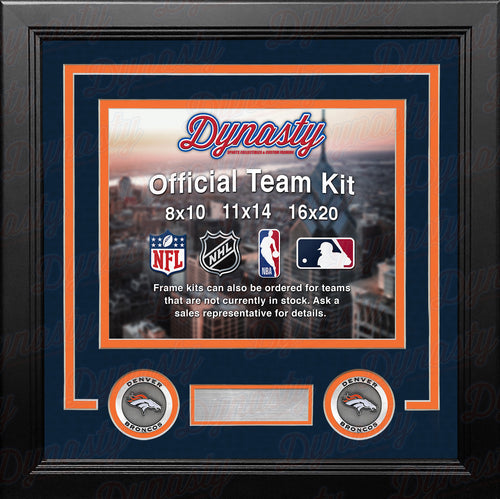 NFL Football Photo Picture Frame Kit - Denver Broncos (Navy Matting, Orange Trim) - Dynasty Sports & Framing