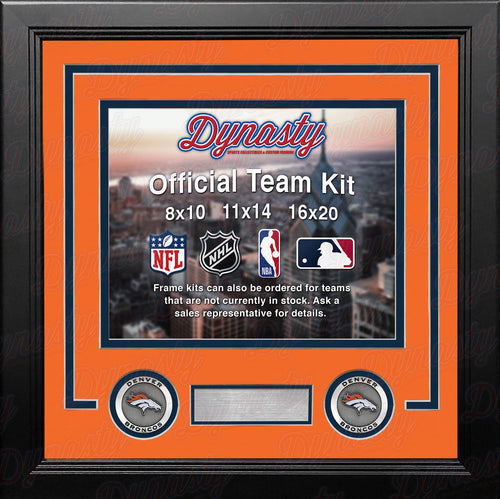 NFL Football Photo Picture Frame Kit - Denver Broncos (Orange Matting, Navy Trim) - Dynasty Sports & Framing