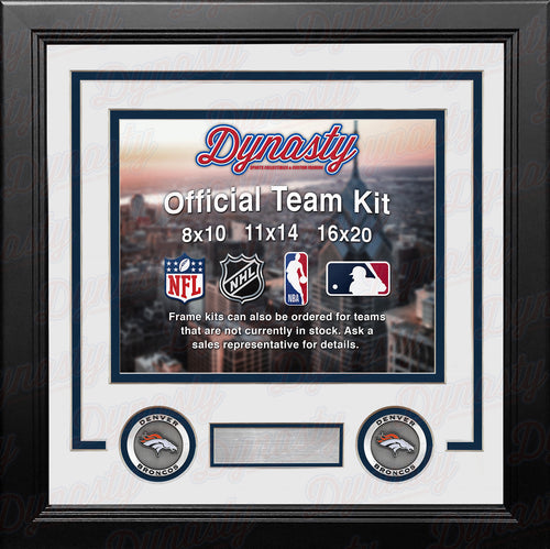 NFL Football Photo Picture Frame Kit - Denver Broncos (White Matting, Navy Trim) - Dynasty Sports & Framing