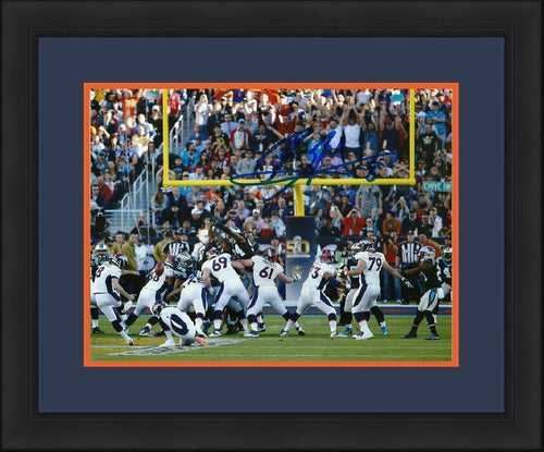 Denver Broncos Brandon McManus Super Bowl 50 Autographed Kicking Through the Uprights NFL Football Photo Framed and Matted Photo - Dynasty Sports & Framing