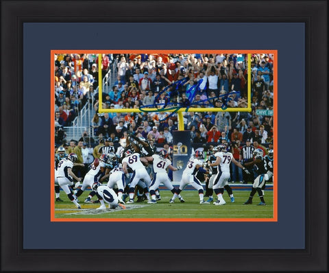 Denver Broncos Brandon McManus Autographed Super Bowl 50 Back Framed and Matted Photo - Dynasty Sports & Framing