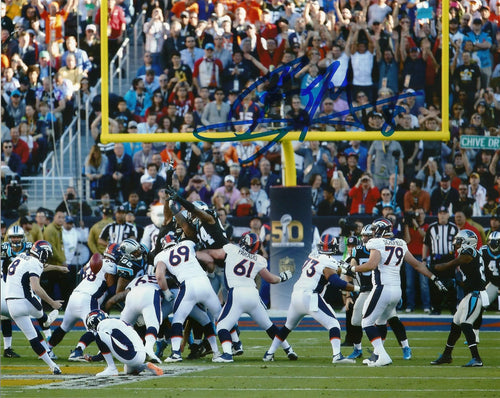 Denver Broncos Brandon McManus Super Bowl 50 Autographed Kicking Through the Uprights NFL Football Photo - Dynasty Sports & Framing