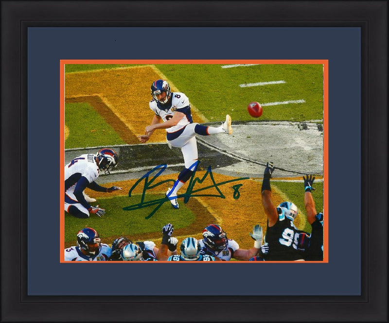 "Denver Broncos Brandon McManus Super Bowl 50 Autographed Front at Midfield NFL Football 11"" x 14"" Framed and Matted Photo - Dynasty Sports & Framing"