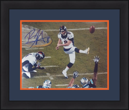 Denver Broncos Brandon McManus Super Bowl 50 Autographed Kicking at Midfield NFL Football Framed and Matted Photo - Dynasty Sports & Framing