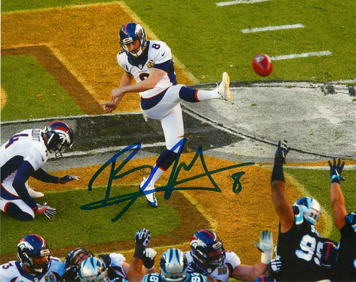 Denver Broncos Brandon McManus Super Bowl 50 Autographed Front at Midfield NFL Football Photo - Dynasty Sports & Framing